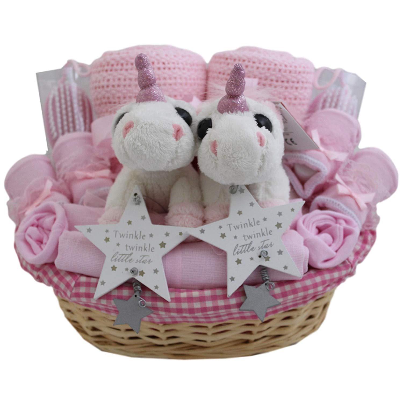 Baby Girl Twins Unicorn Gift Basket Baby Twin Girls Gift